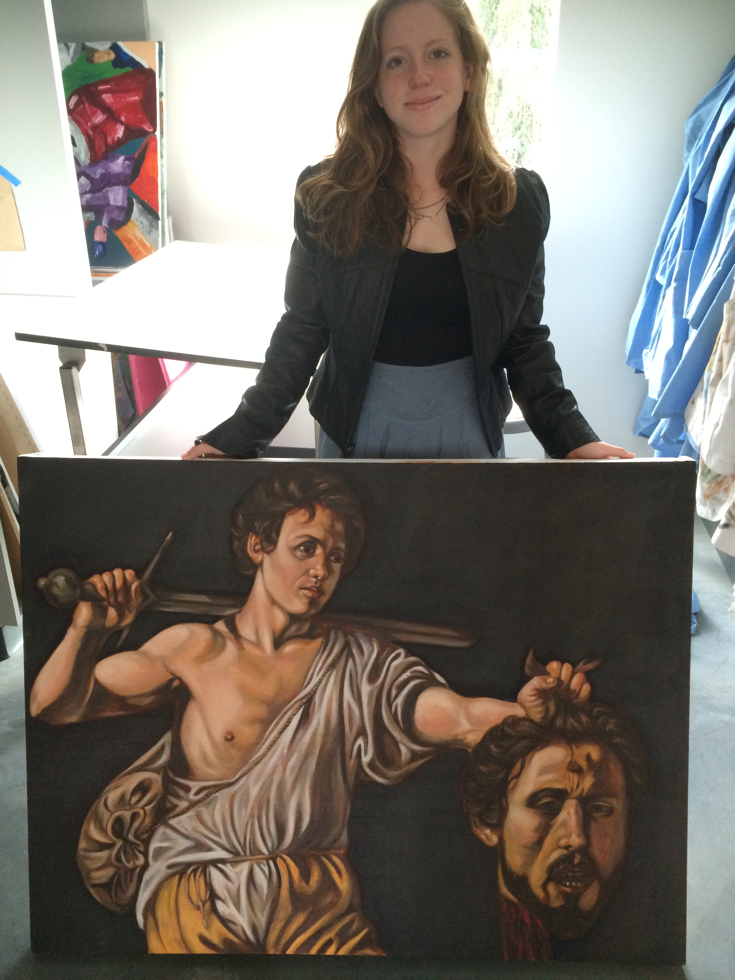 Callie's copy of Caravaggio's  David with the Head of Goliath