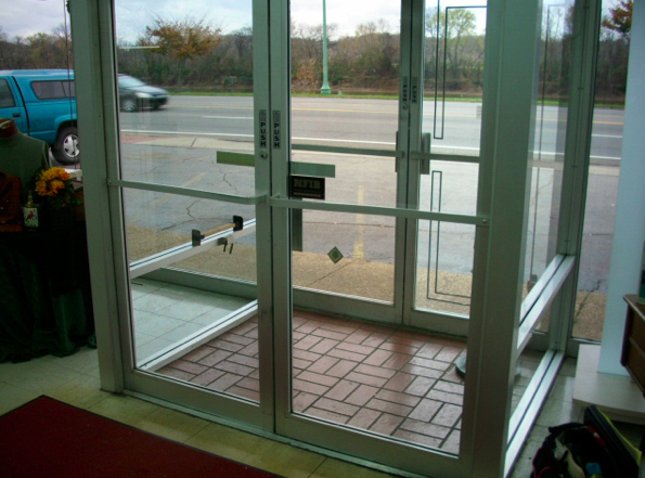 Image of two entry doors in series.