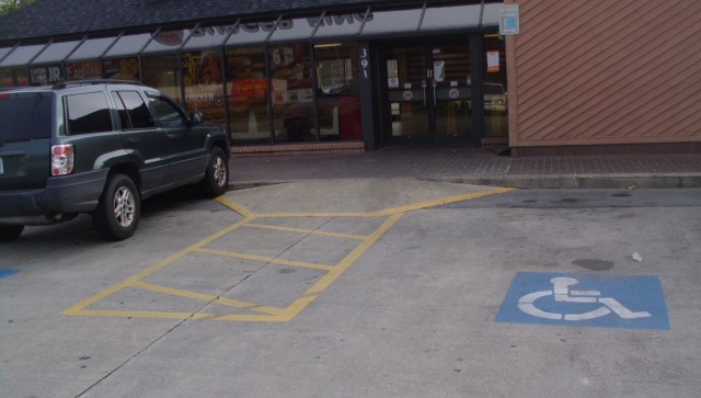 Two ADA Accessible Parking Spaces with an Accessible Aisle