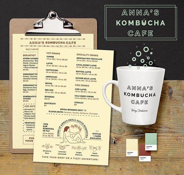 ANNA'S KOMBUCHA CAFE ✨ ✨✨✨✨✨✨✨✨✨✨ #suzygalazka #cosmicsuzy #brandesign #printdesign #menu #illustration #illustrator #graphicdesign #designtrends #garyindiana #nwi #kombucha #cafe #empoweringwomen