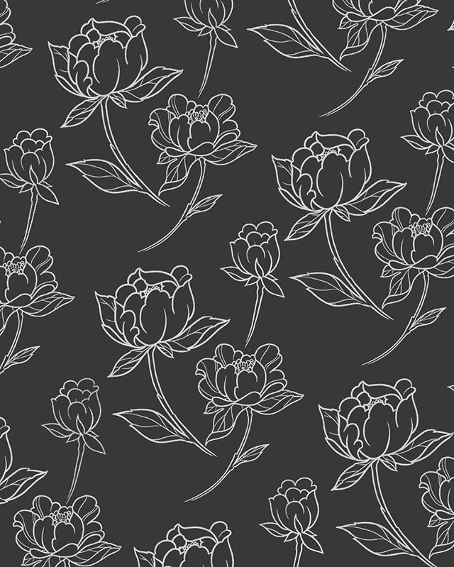 Who doesn't love a purty peony pattern? 🌺 . . . . . . #pattern #illustration #handillustration #illustragram #design #textile #peony #botanical #flower #flowerpower #graphicdesign #blackandwhite #cosmicsuzy #suzyg #suzygalazka