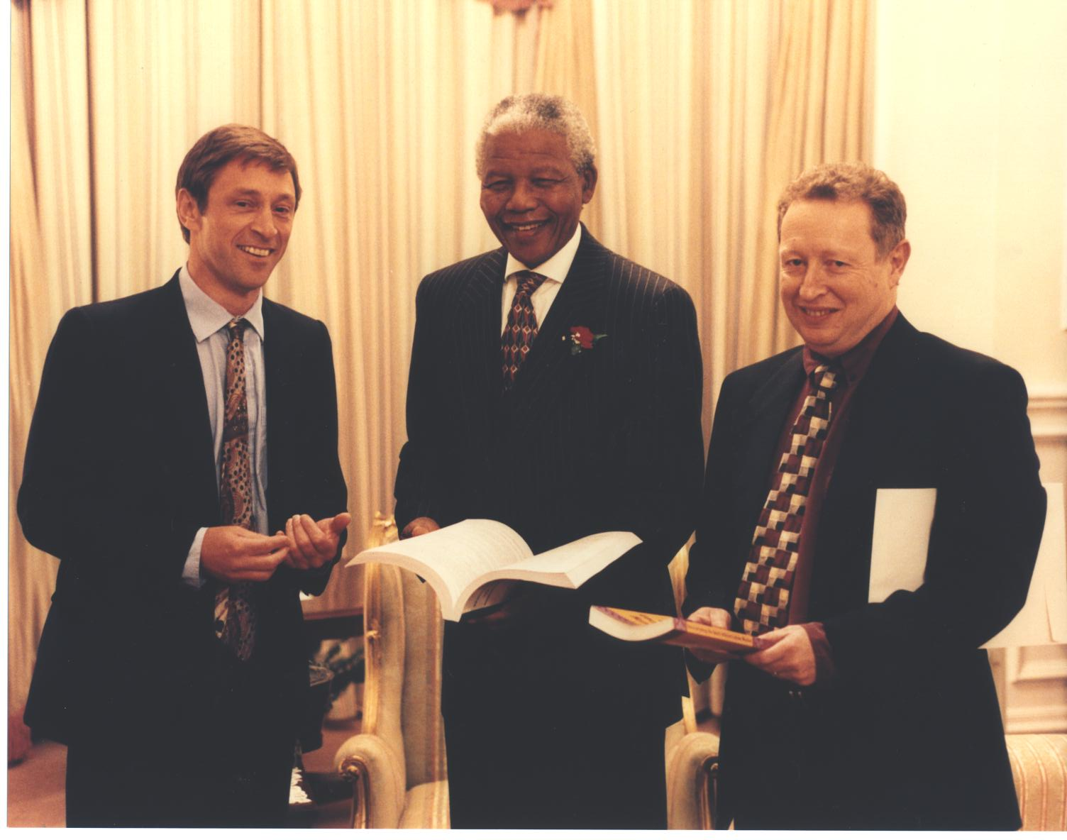 With President Nelson Mandela and David Lewis, 1996