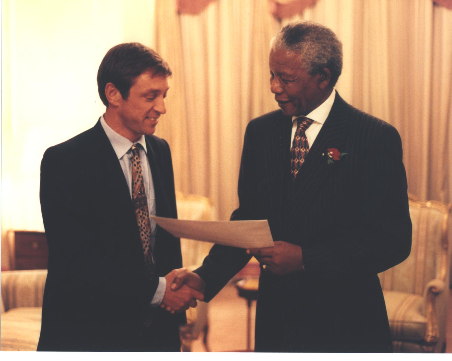 With President Nelson Mandela, 1996