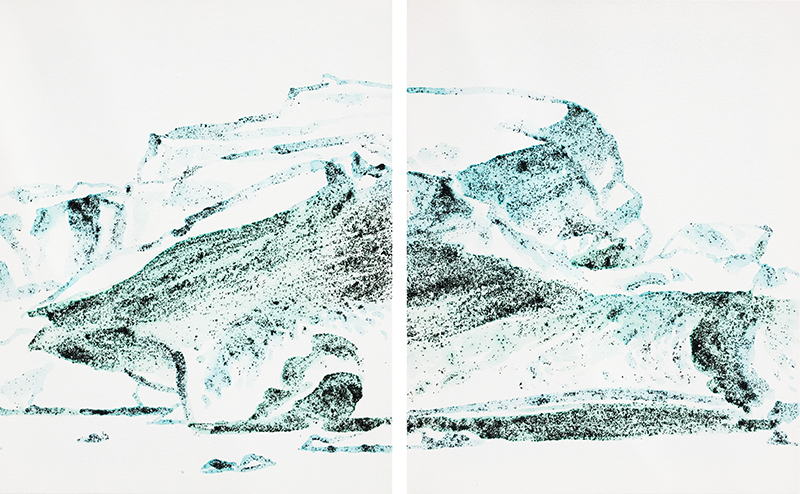 """Erling Sjovold, """"Icebergs, Diptych, Glacial Lagoon, Iceland,"""" w/c & Iclandic black sand, 2 20×16 in."""