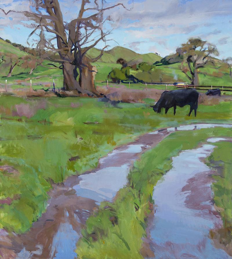 "Marcia Burtt, ""Cows in Winter Pasture,"" acrylic, 40×36 in"