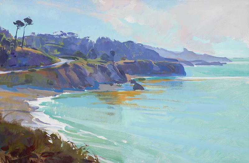 Marcia Burtt, Mendocino Overlook, acrylic, 20×30 in.