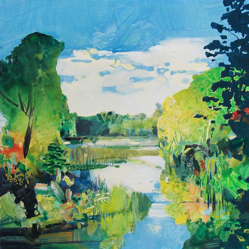 Randall David Tipton, Nisqually Summer, watermedia, 12×12 in.