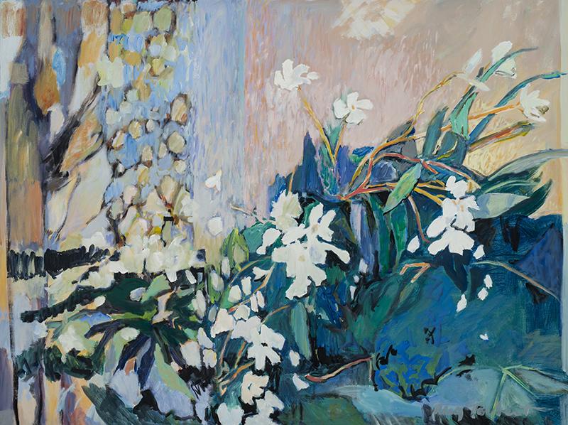 Meg Torbert, Oleander Blues, acrylic, 36″x48″