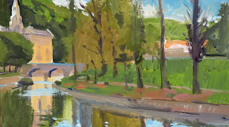 Marcia Burtt   Bend in the River   acrylic 10x18 in.