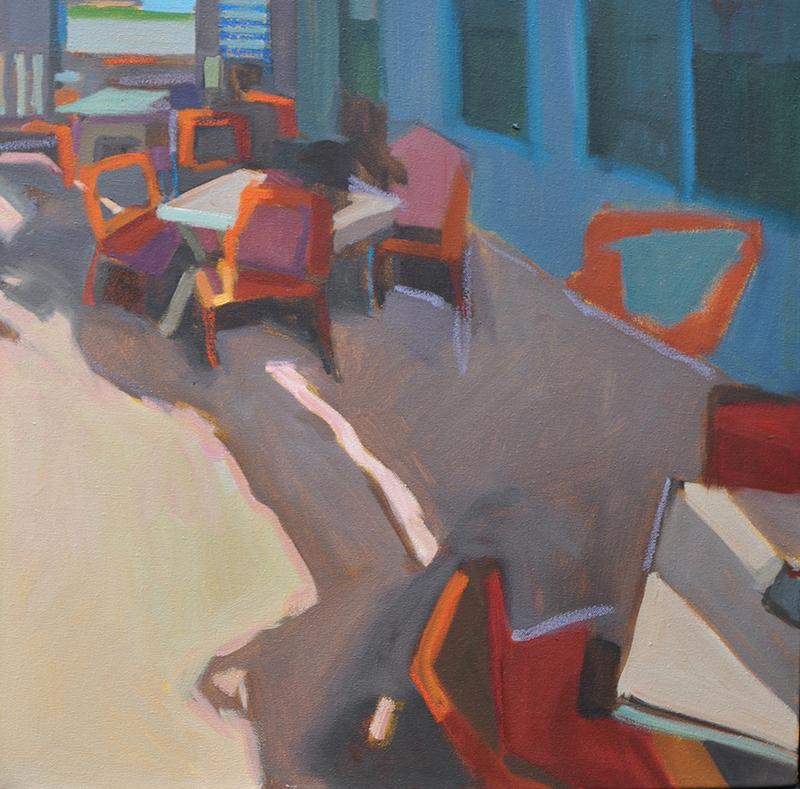 Anne Ward   Blue Cafe   oil over acrylic 16×16