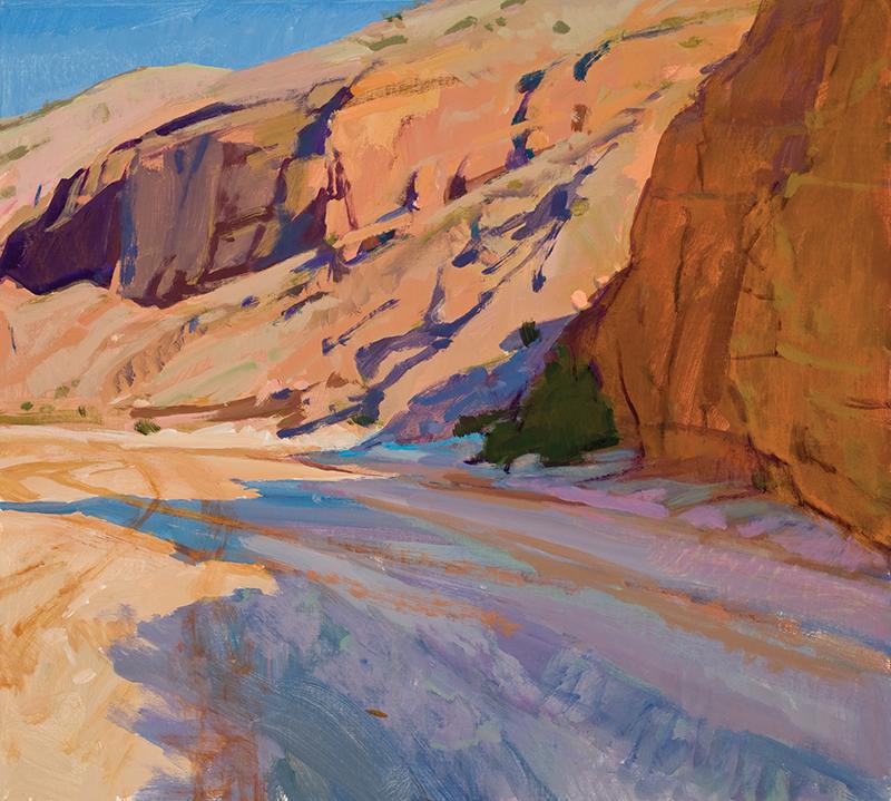 Marcia Burtt   Morning Shadows, Fish Creek Wash   18 x 20 in. acrylic