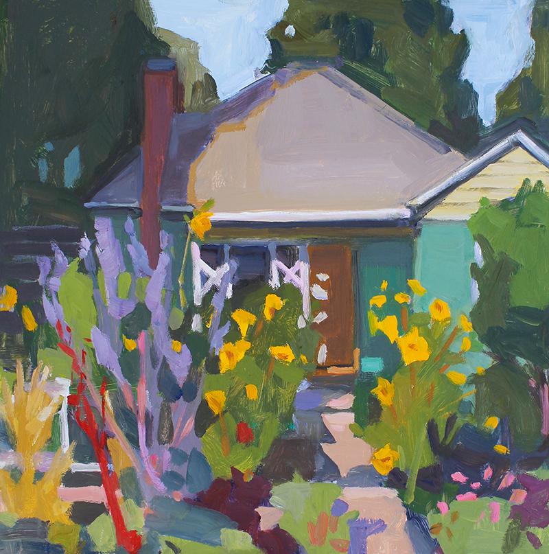 Anne Ward,  Summer Garden  , oil, 12x12 in.