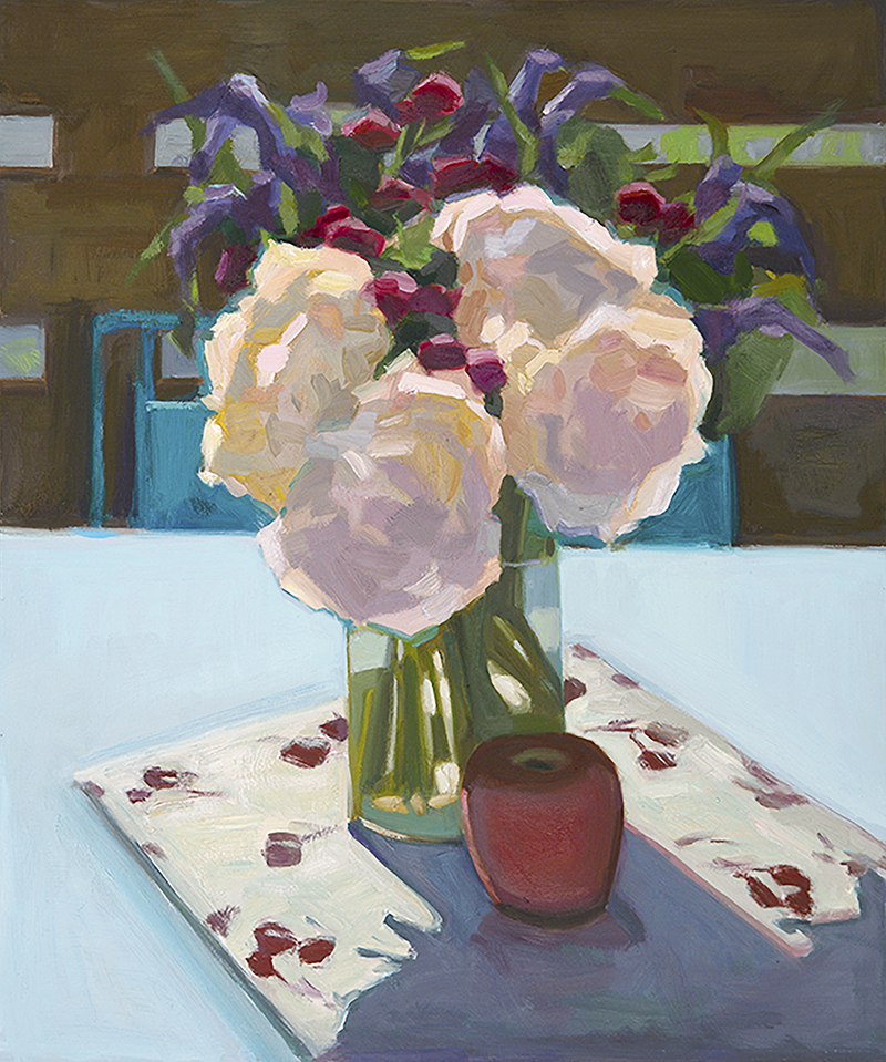Anne Ward,  Hydrangeas on Our New Table,  oil ,  24x20 in.