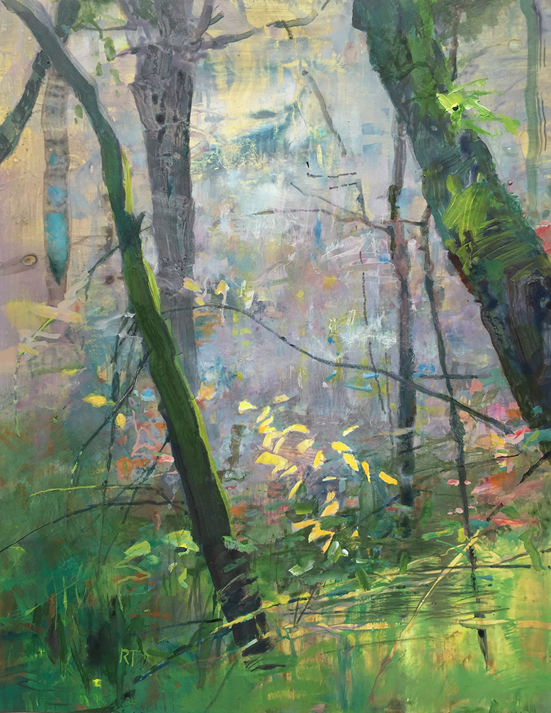 """Bryant Woods, November,"" watermedia on yupo paper, 14x11 in."