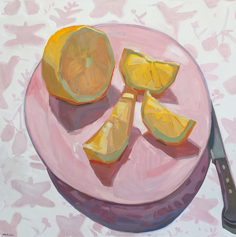 Painting of lemons on plate