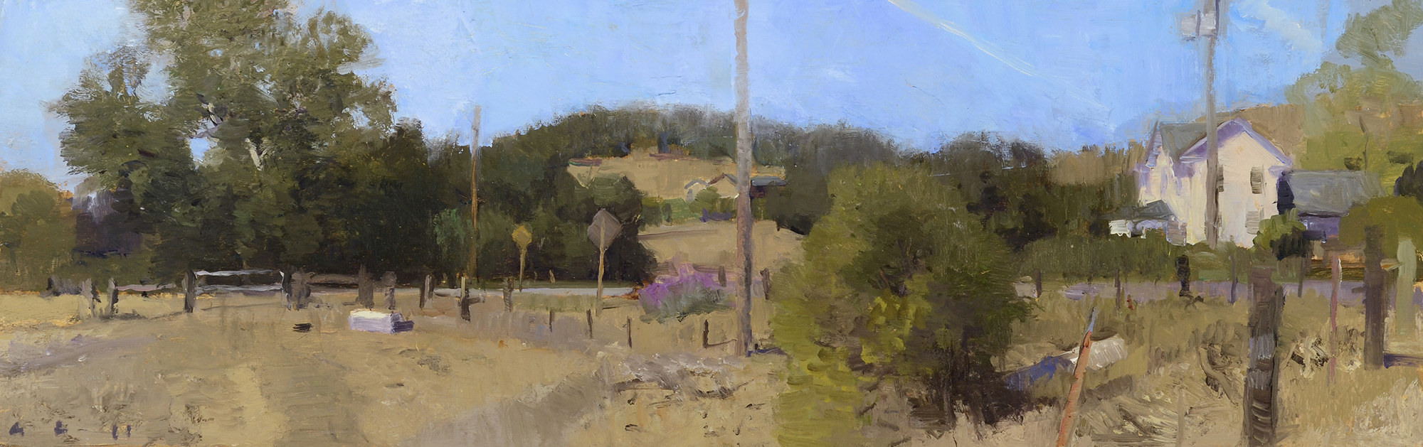 Ann Lofquist,  Santa Rosa Creek Road,    oil on panel, 5.75×18″