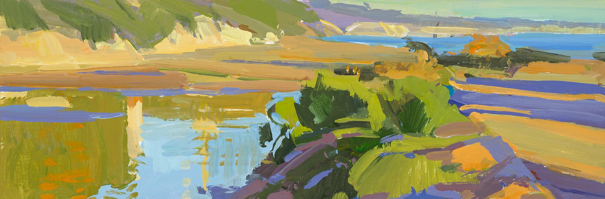 Marcia Burtt,  Looking East, Late Afternoon ,   acrylic, 6×18 in.
