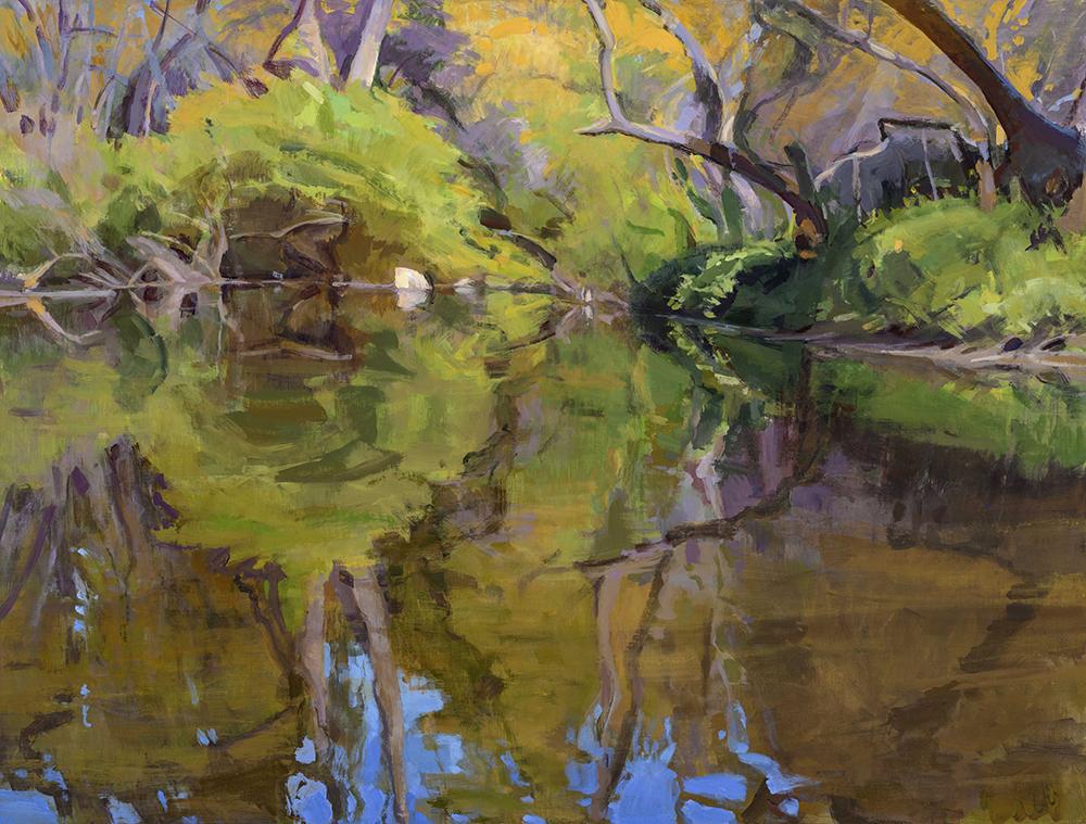 Marcia Burtt, Reflecting Pool, Escondido Creek, acrylic, 30x40 in.
