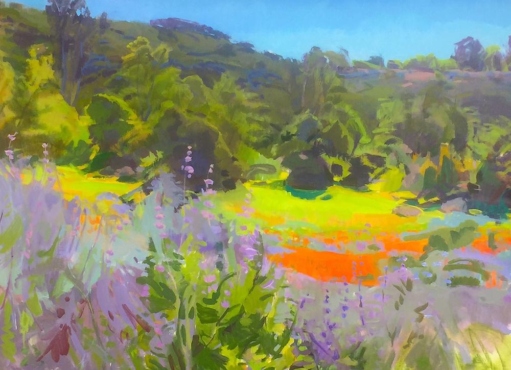 Marcia Burtt, Creek Overlook with Wildflowers, acrylic, 30x40 in.