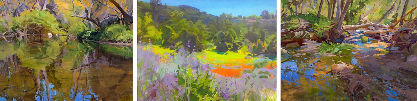 Marcia Burtt,  Escondido Creek Tritypch , acrylic, three 30x40 in. panels.