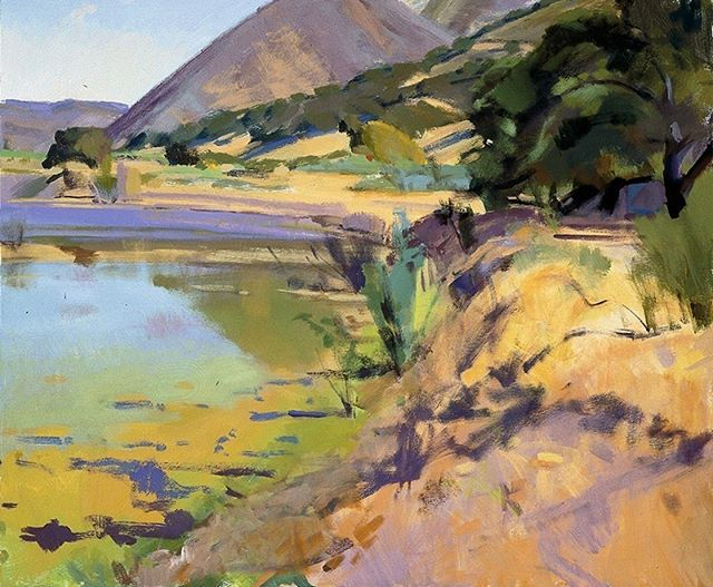 """Ranch inspired art. """"Sun On the Beaver Pond,"""" by Marcia Burtt. Click on our profile link to reserve your retreat. #ponds #oaktrees #pleinairpainting #pleinairpaintinglocations #californiapleinair #pleinairretreat#retreats #ArtsRetreat #travel #CentralCoast #PaintersRetreat #WritersRetreat #CaliforniaRanches #slocounty #CaliforniaCentralCoast #Ranches#Vacations #VacationDestination #VacationIdeas #retreatyourself #Getaway #explore #CreativeRetreat #renew #create #findyourselfoutside"""