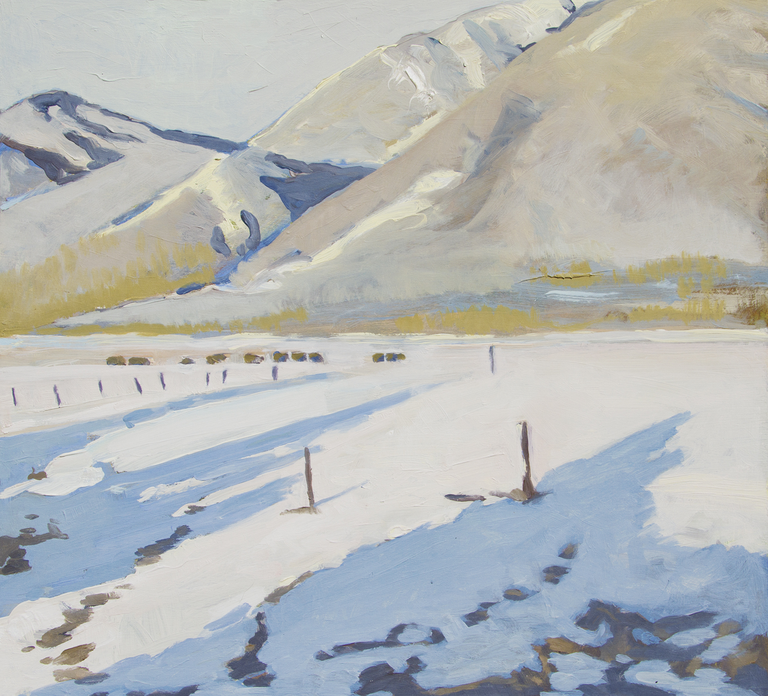 Robert Abbott,  Taos in January , oil, 20x22 in.