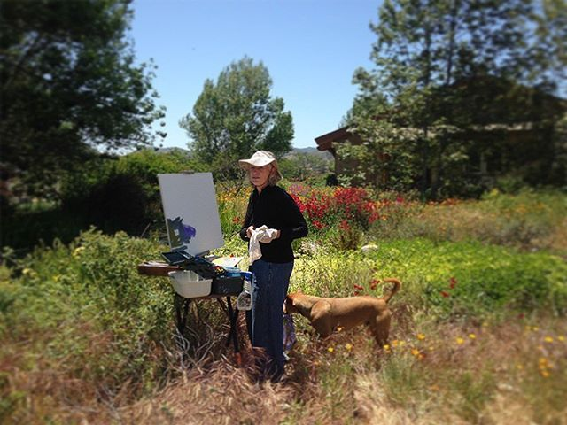Marcia painting en plein air in the garden. Click on our profile link to reserve your retreat. #pleinairpainting #wildflowers #pleinairpaintinglocations #californiapleinair #pleinairretreat #retreats #ArtsRetreat#travel #CentralCoast #PaintersRetreat #WritersRetreat #CaliforniaRanches #CaliforniaCentralCoast #Ranches#Vacations #VacationDestination #VacationIdeas #retreatyourself #Getaway #explore #CreativeRetreat #renew #create #findyourselfoutside #secluded #california #californiastyle #sanluisobispocounty