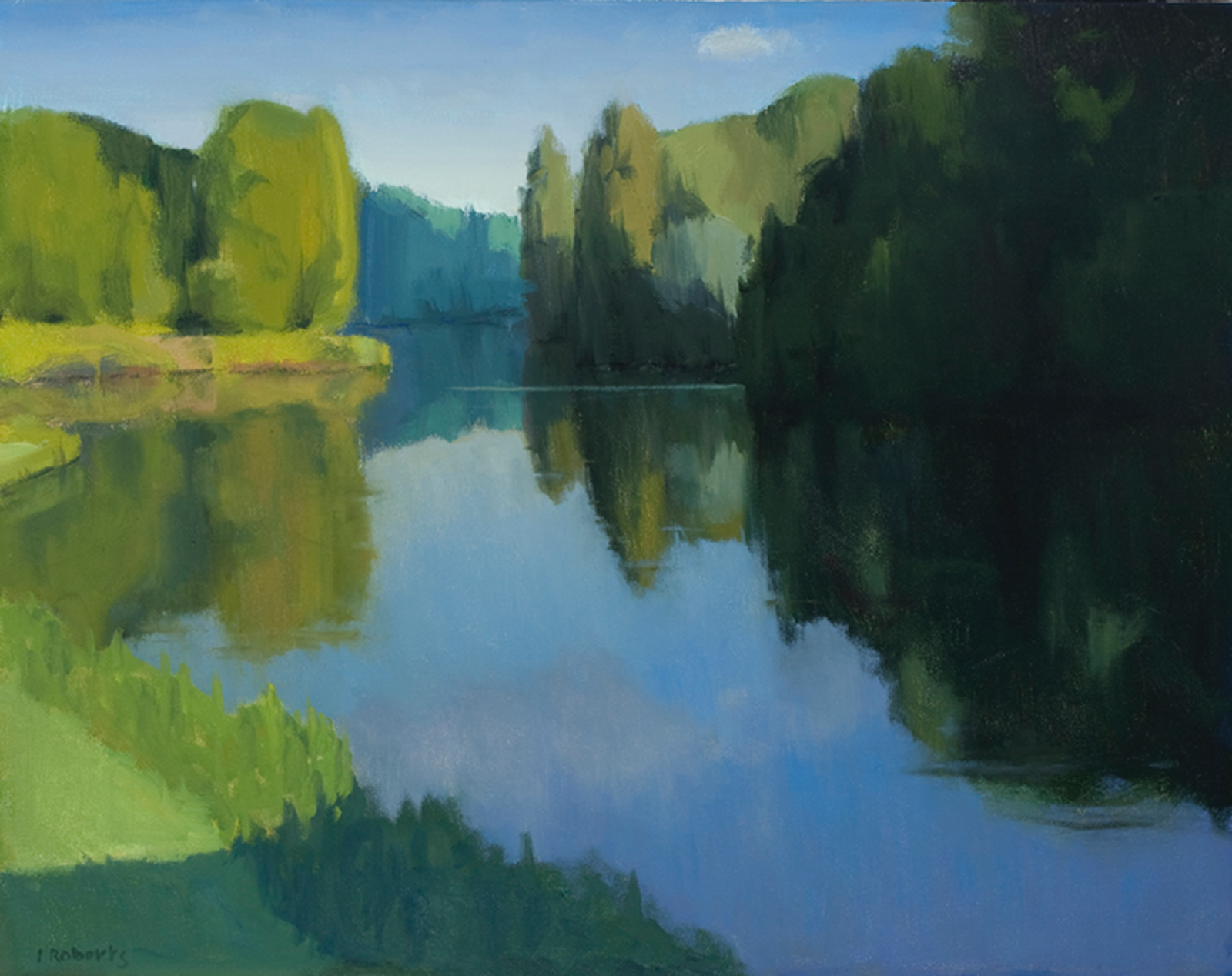 Ian Roberts,  Light on the Loing, oil,  24x30 in.