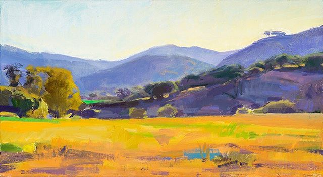 """Golden fields and blue hills on the ranch. """"West Field, End of Day,"""" by Marcia Burtt. Click on our profile link toreserve your retreat. #foothills #oaktrees #pleinairpainting #pleinairpaintinglocations #californiapleinair #pleinairretreat #retreats #ArtsRetreat #travel #CentralCoast #PaintersRetreat #WritersRetreat #CaliforniaRanches #slocounty #CaliforniaCentralCoast #Ranches #Vacations #VacationDestination #VacationIdeas #retreatyourself #Getaway #explore #CreativeRetreat #renew #create #findyourselfoutside"""