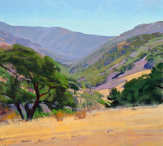 """Rolling hills and oak trees inspired """"Noon on the Ranch,"""" by Marcia Burtt. Click on our profile link toreserve your retreat. #foothills #oaktrees #pleinairpainting #pleinairpaintinglocations #californiapleinair #pleinairretreat#retreats #ArtsRetreat #travel #CentralCoast #PaintersRetreat #WritersRetreat #CaliforniaRanches #slocounty #CaliforniaCentralCoast #Ranches #Vacations #VacationDestination #VacationIdeas #retreatyourself #Getaway #explore #CreativeRetreat #renew #create #findyourselfoutside"""