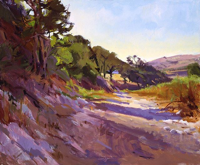"""Change of seasons on the ranch. """"Autumn in the Creekbed,"""" by Marcia Burtt. Click on our profile link toreserve your retreat. #foothills #oaktrees #pleinairpainting #pleinairpaintinglocations #californiapleinair #pleinairretreat #retreats #ArtsRetreat #travel #CentralCoast #PaintersRetreat #WritersRetreat #CaliforniaRanches #slocounty #CaliforniaCentralCoast #Ranches #Vacations #VacationDestination #VacationIdeas #retreatyourself #Getaway #explore #CreativeRetreat #renew #create #findyourselfoutside"""