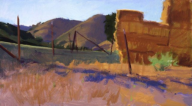 """""""Hay Stack in the Upper Field,"""" by Marcia Burtt. Click on our profile link toreserve your retreat. #haystacks #foothills #pleinairpainting #pleinairpaintinglocations #californiapleinair #pleinairretreat #retreats #ArtsRetreat #travel #CentralCoast #PaintersRetreat #WritersRetreat #CaliforniaRanches #slocounty #CaliforniaCentralCoast #Ranches #Vacations #VacationDestination #VacationIdeas #retreatyourself #Getaway #explore #CreativeRetreat #renew #create #findyourselfoutside"""