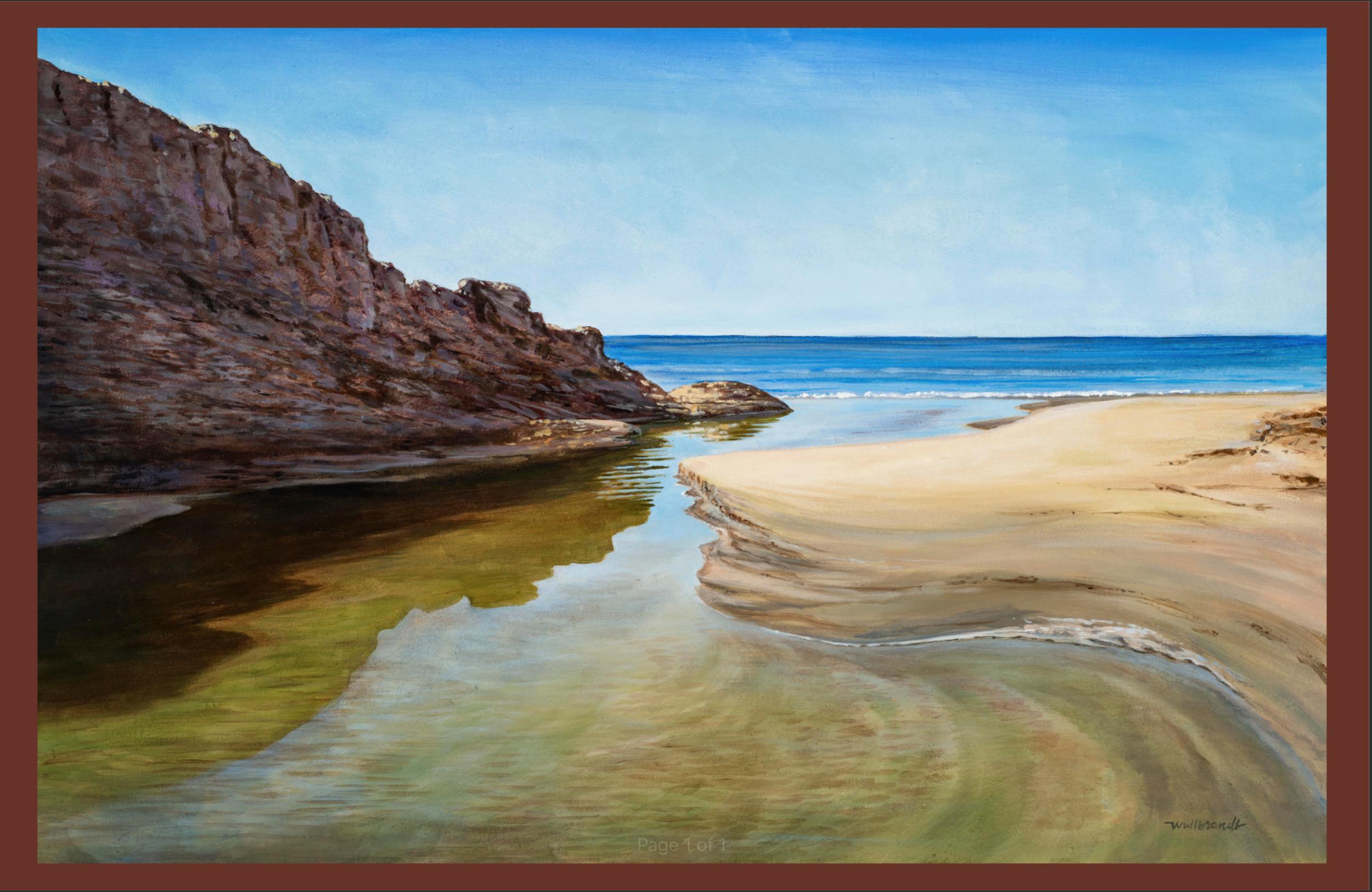 "John Wullbrandt, ""Gaviota Creek Meets the Blue Pacific,"" Acrylic on canvas"
