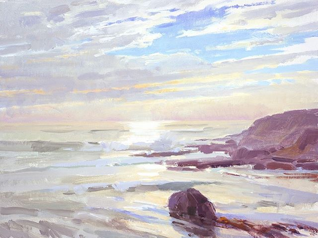 """A trip to the ocean from the ranch. """"Our Coast,"""" by Marcia Burtt. Click on our profile link to reserve your retreat. #centralcoastcalifornia #centralcoastline #pleinairpainting #pleinairpaintinglocations #californiapleinair #pleinairretreat #retreats #ArtsRetreat #travel #CentralCoast #PaintersRetreat #WritersRetreat #CaliforniaRanches #slocounty"""