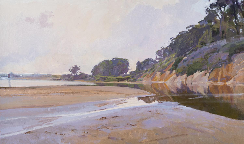 Marcia Burtt,  View to the West, Goleta Estuary , acrylic, 36x60 in.