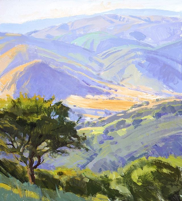 """A view of the ranch from one of the hills. """"Valley Overlook,"""" by Marcia Burtt. Click on our profile link toreserve your retreat."""
