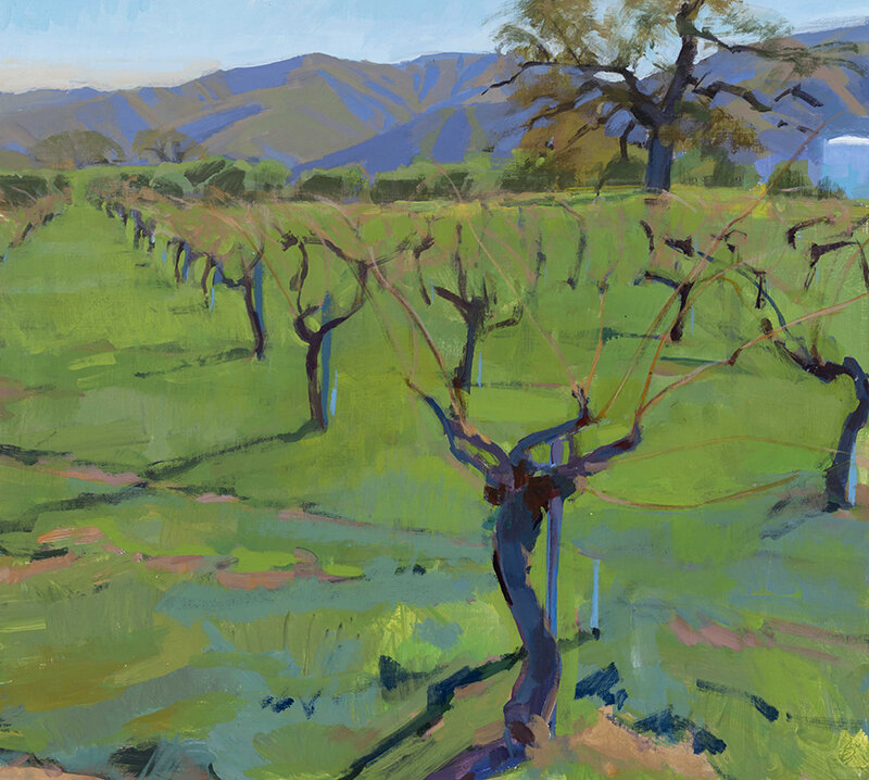 Marcia Burtt,  In the Vineyard,  acrylic, 18x20 in.