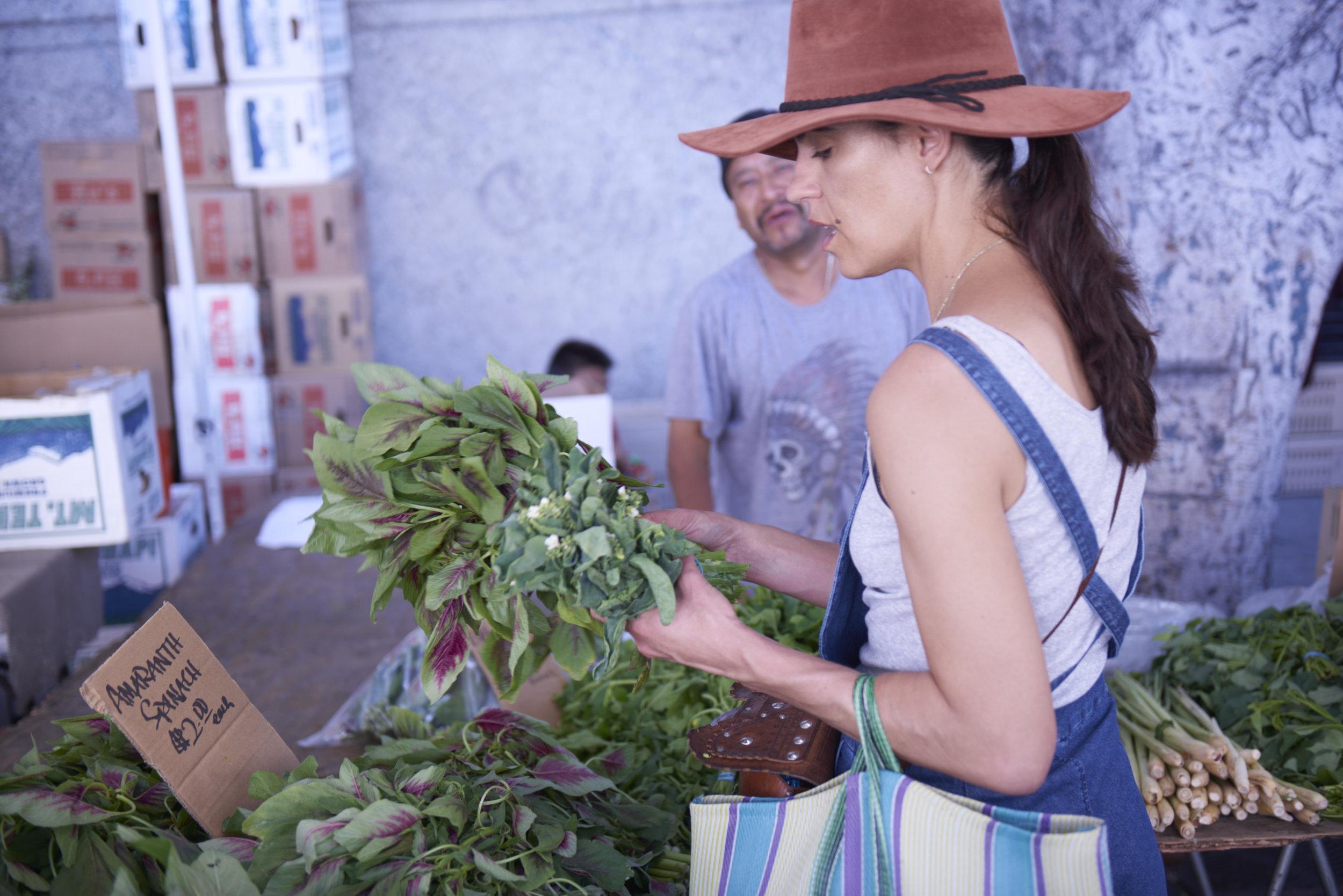 At the farmers market in LA