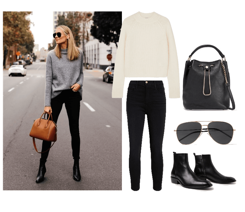 Sweater  : Vince, Cropped Cashmere Sweater, $177 //   Jeans  : Frame, Le Color Black mid rise Skinny Jean, $186  //    Sunglasses  : St. Laurent, Classic 11 Aviator Sunglasses, $165 //   Boots   :  The Kooples Leather Ankle Boots, $225 //   Bag  : DVF, Love Power Texted-Leather Bucket Bag, $149