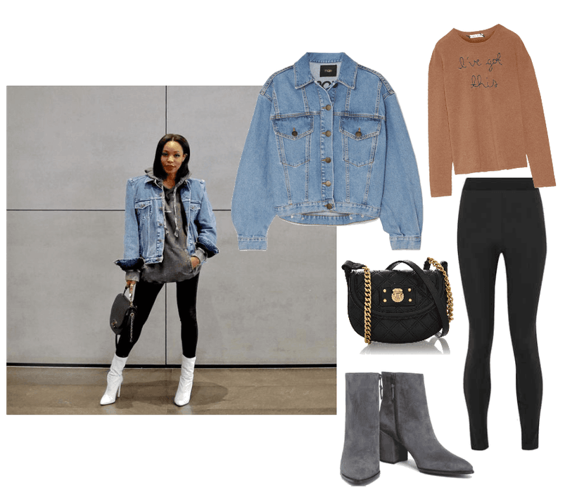 Jacket  : Maje, Denim jacket, $101 //   Boots  : Stuart Weitzman, Suede Ankle Boot, $294 //   Sweater  : Lingua Franca, I've Got This Embroidered Cashmere Sweater, $90 (Orig. $362),   Leggings  : T by Alexander Wang, Stretch Jersey Leggings, $110 //   Bag  : Marc Jacobs NOHO Quilting Black Bag, $668