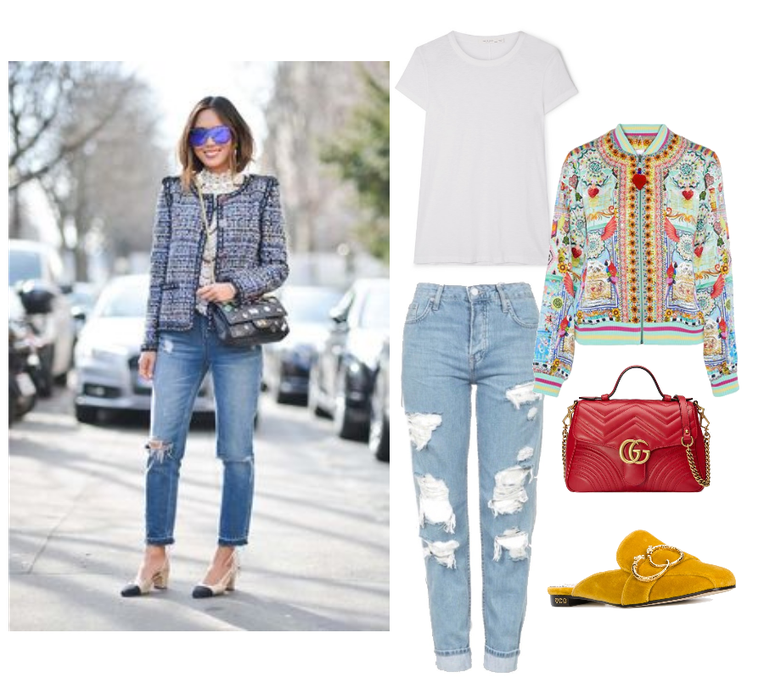 T-Shirt   :  Rag and Bone, The Tee Slub Pima Cotton T-Shirt, $90 //   Mules   :  Charlotte Olympia, Yellow Velvet Mule Flats, $278 (Orig. $555) //   Bomber Jacket:     Camilla, Close to My Heart Embellished Printed Silk Bomber. $336 //   Bag   :  Gucci, GG Marmont 2.0 Leather Shoulder Bag, $980 //     Jeans   :  Top Shop, Hayden Ripped Jeans, $90