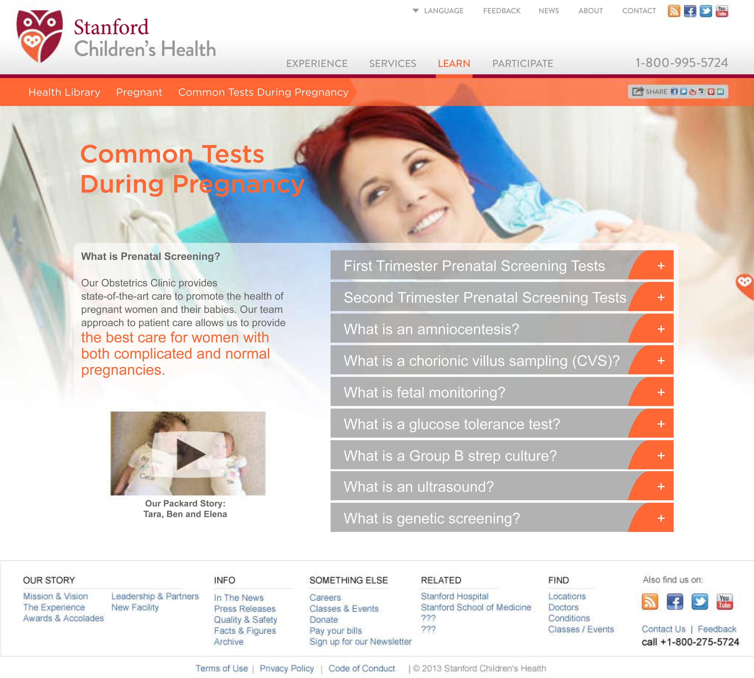 Stanford Children's Health Website Obstetrics