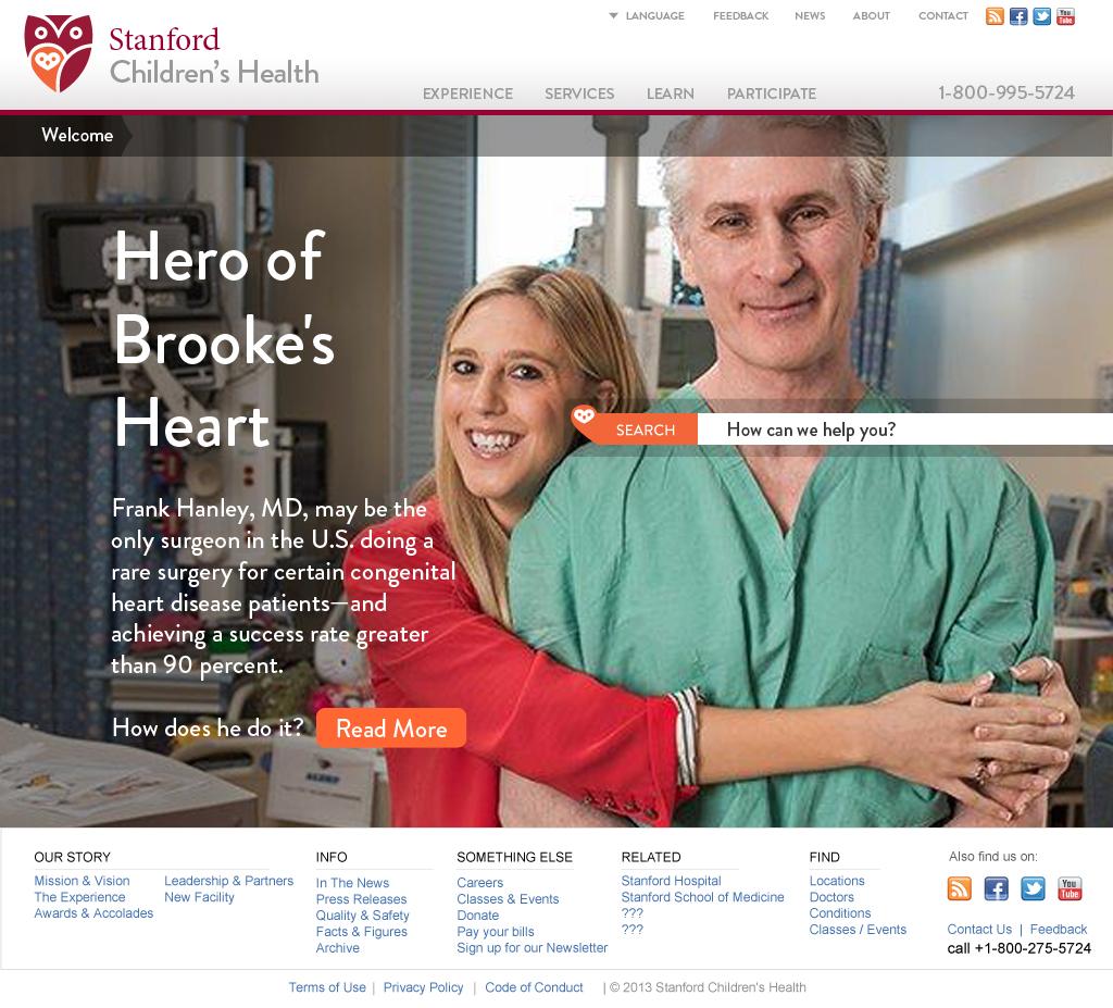 Stanford Children's Health Website Homepage Specialties