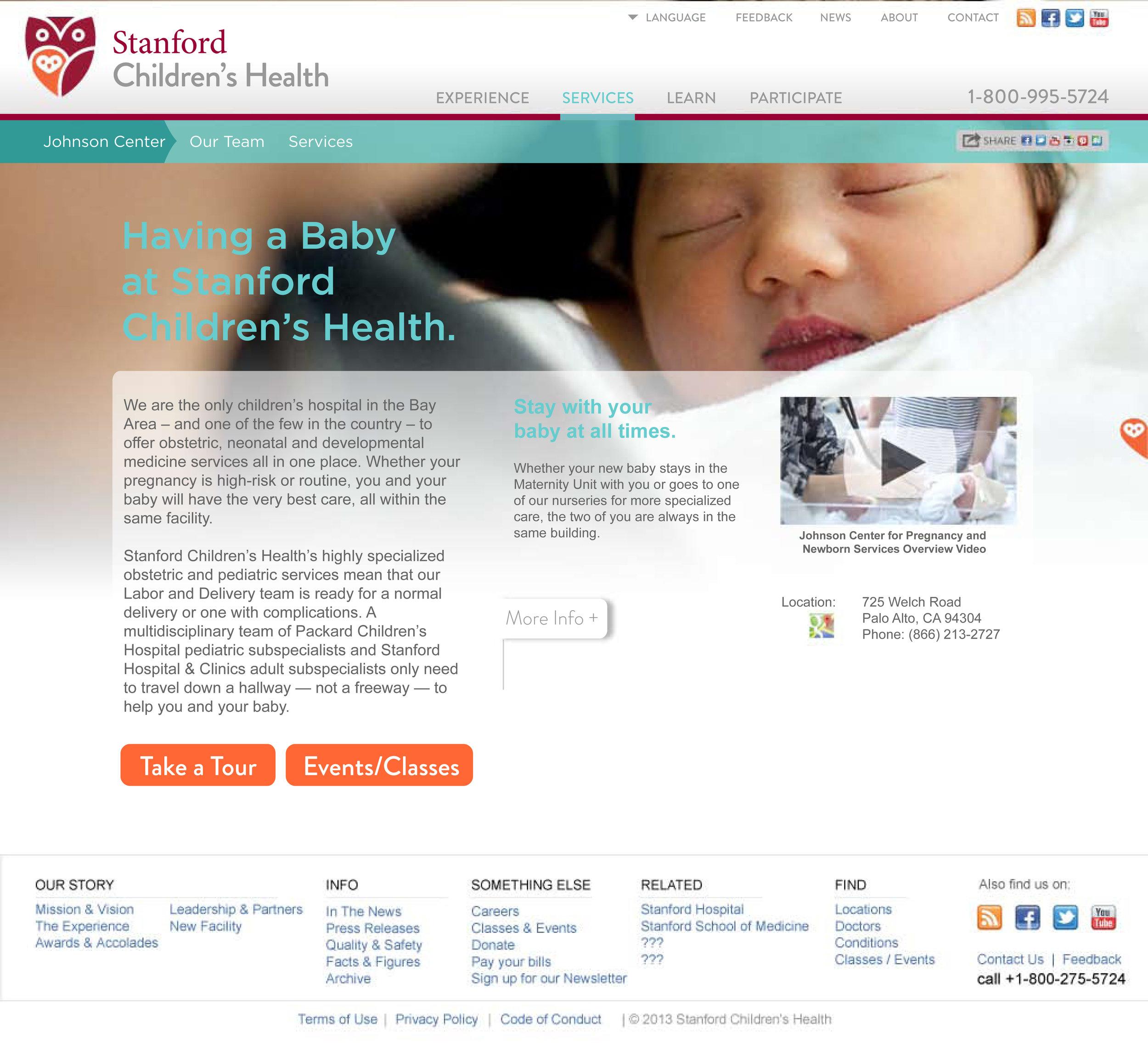 Stanford Children's Health Website Child Birth