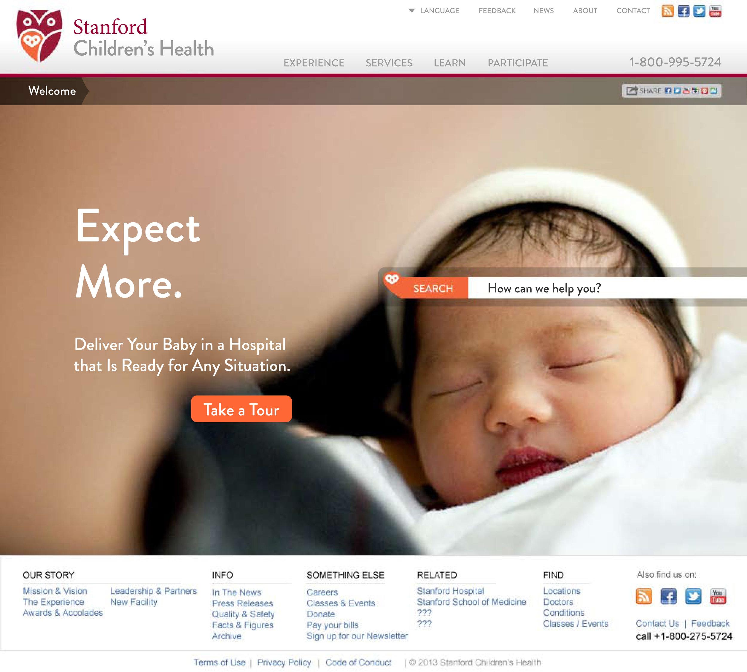 Stanford Children's Health Website Homepage Carousel