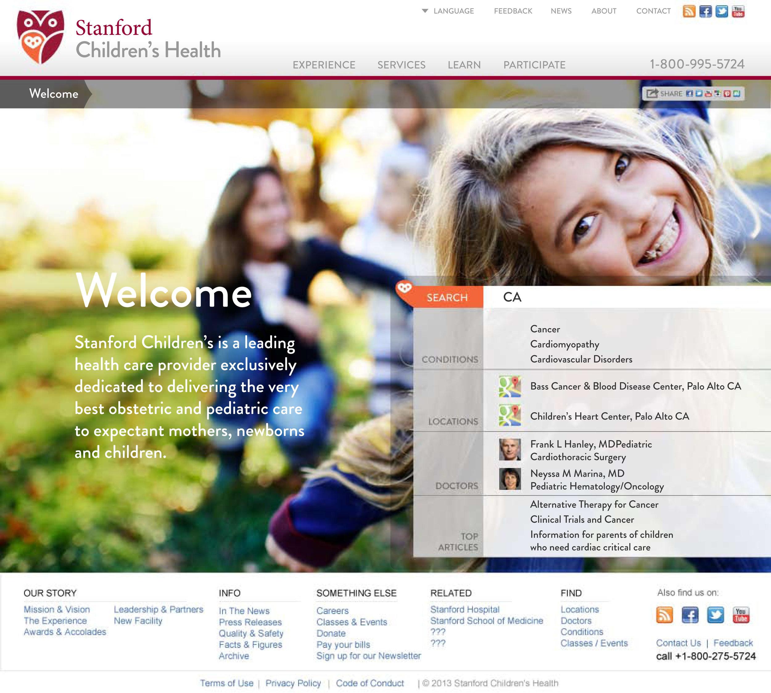 Stanford Children's Health Website Wayfinding