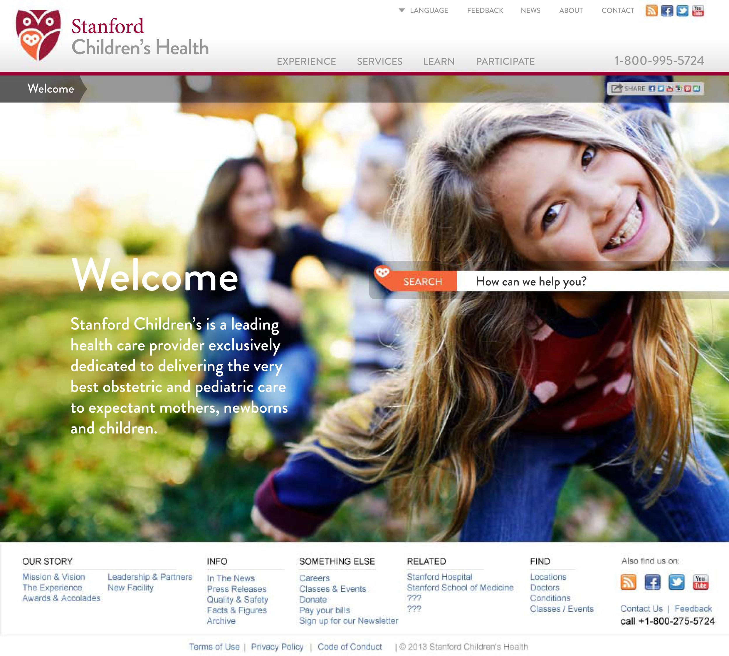 Stanford Children's Health Website Homepage