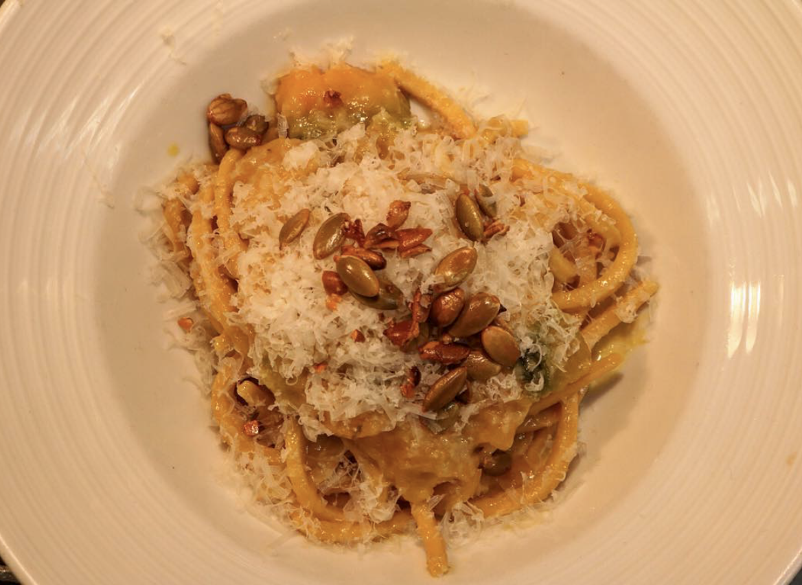 Spaghetti alla chitarra with squash putanesca - Photo Courtesy of @RussetPhilly