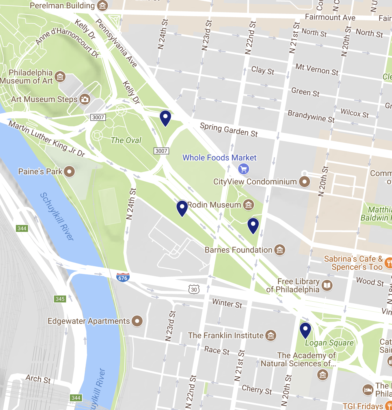 The 4 spots where the winter fountains are! - Photo courtesy of google :)