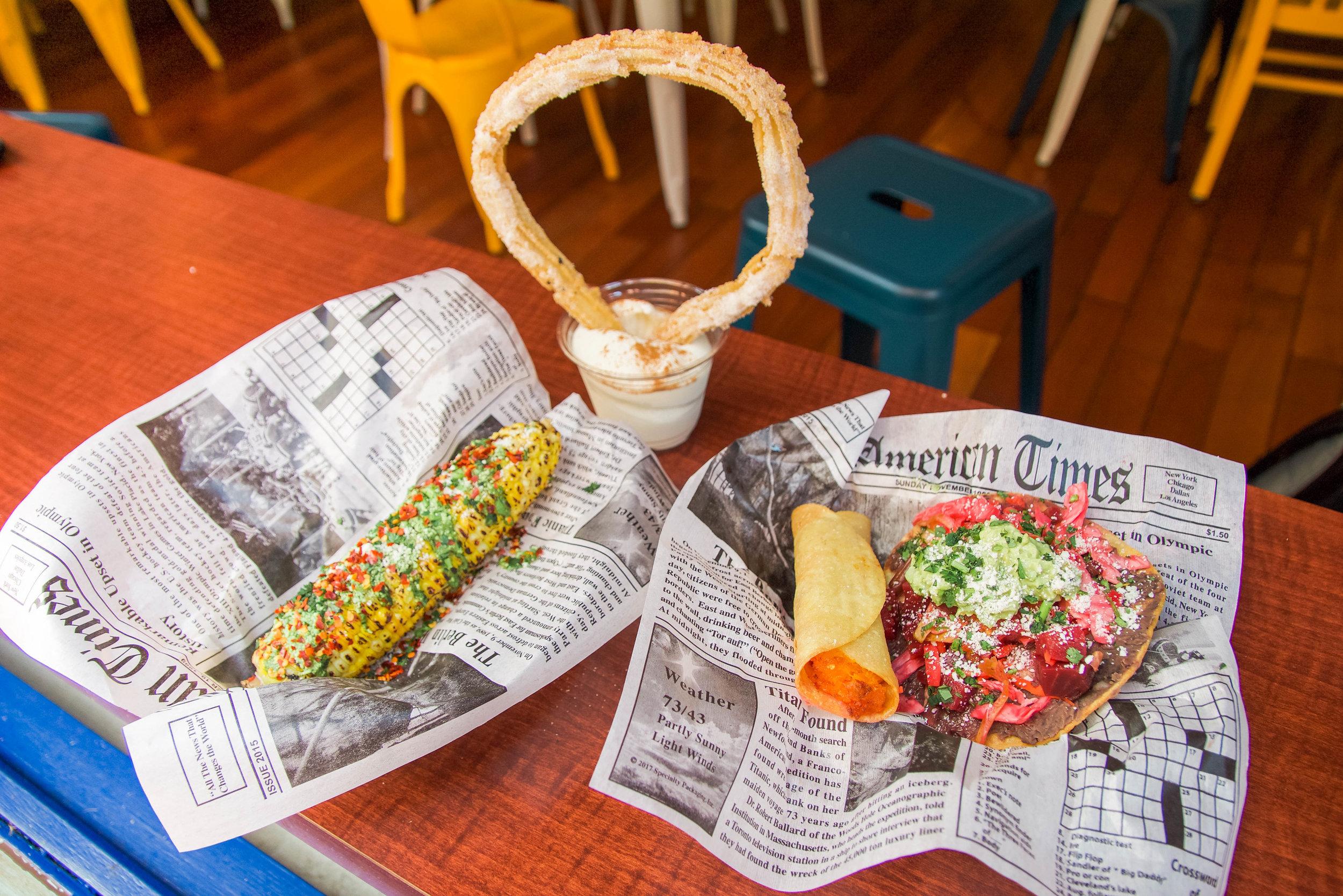 Corn on the Cob, Churro in Vanilla Ice Cream, Taquito, Veggie Enchilada Toastada - ALL SO good -